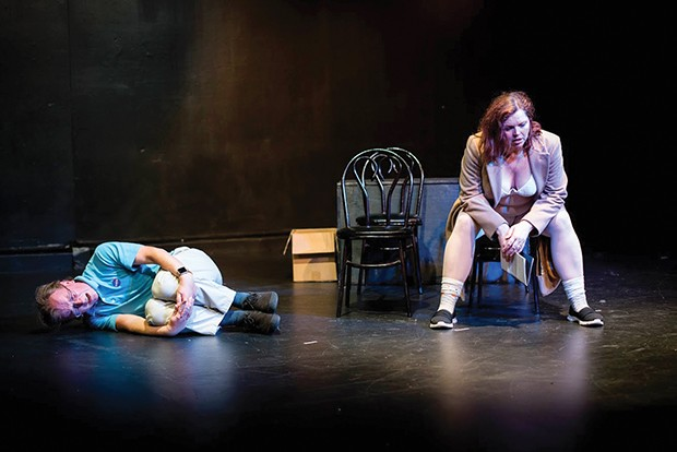 Sean Duggan and Samantha A. Camp in Pittsburgh New Works Festival's Astronaut (or Frantic Action) -   by Shelby Solla - PHOTO COURTESY OF BRITTANY CREEL
