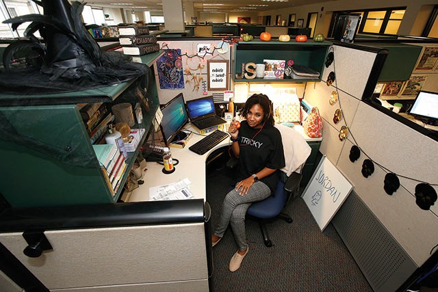 Jordan at her desk. - CP PHOTOS: JARED WICKERHAM