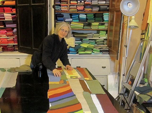 Stefani Danes at work on a quilt. - STEFANI DANES