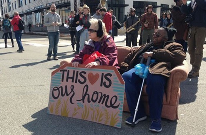 Mabel Duffy (left) sitting with Myrtle Stern at a 2017 affordable-housing rally in East Liberty - CP PHOTO: RYAN DETO