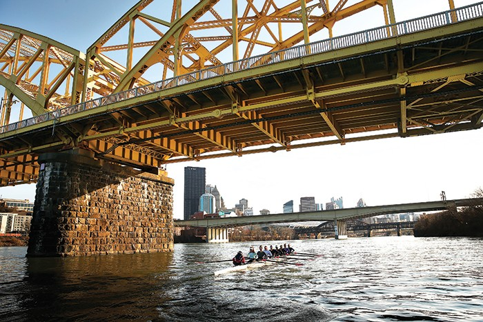 Members of the boys and girls junior Three Rivers Rowing Association teams practice on the Allegheny River. - CP PHOTO: JARED WICKERHAM