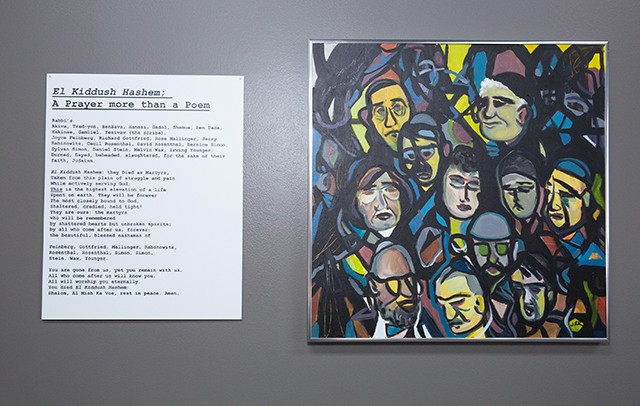 A painting and poem by Judy Robinson honoring the Tree of Life victims - HOLOCAUST CENTER OF PITTSBURGH