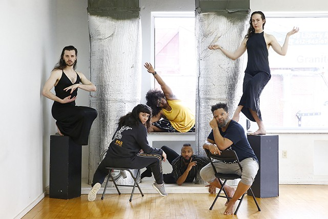 newMoves dancers (L-R) inside the KST Alloy Theater: Taylor Knight, Jessica Marino, Staycee Pearl, Trevor C. Miles, Nick Daniels, and Anna Thompson - CP PHOTO: JARED WICKERHAM
