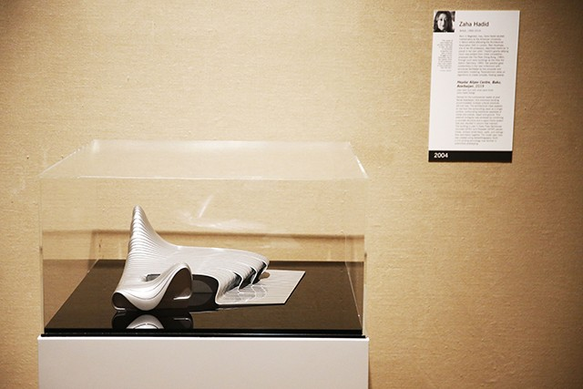 Zaha Hadid's model for the Heydar Aliyev Center, displayed at the Carnegie Museum of Art - CP PHOTO: JARED WICKERHAM