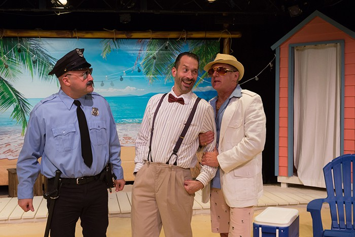 Phillip Taratula as Sylvester, Jeffrey Binder as Scapino, and David Whalen as Don Albert in Scapino - PHOTO: ROCKY RACO