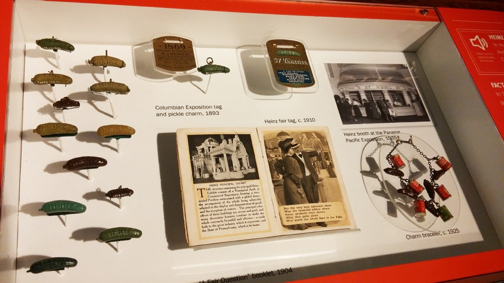 The pin throughout the years, displayed at the Heinz History Center - PHOTO: HEINZ HISTORY CENTER