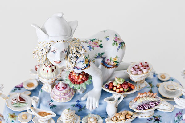 """Covet"" (detail) from Forbidden Fruit: Chris Antemann® at Meissen, Oct. 3 at The Frick Art & Historical Center - PHOTO COURTESY OF ©CHRIS ANTEMANN AND MEISSEN COUTURE®"