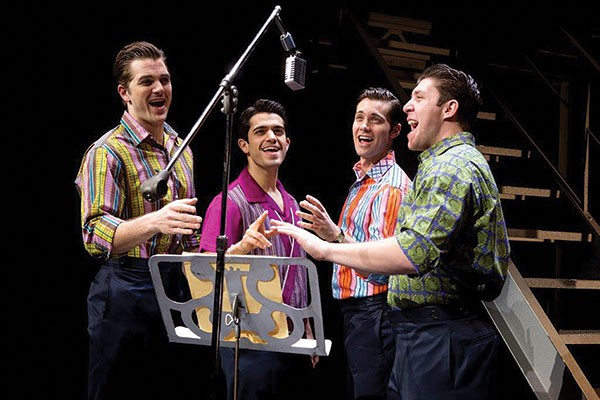 From left: Keith Hines, Hayden Milanes, Drew Seeley and Matthew Dailey in Jersey Boys - PHOTO COURTESY OF JEREMY DANIEL