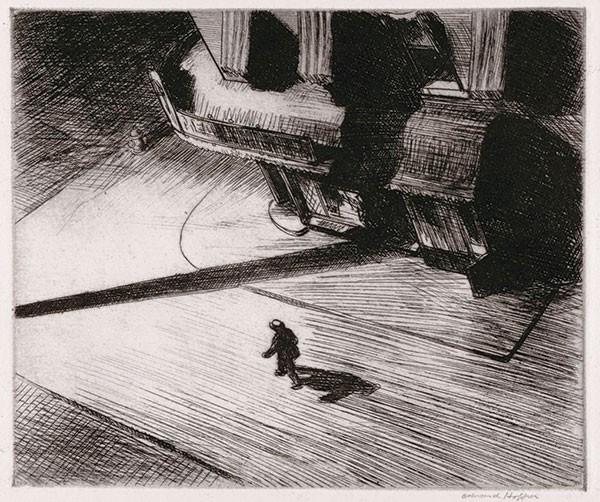 "Edward Hopper's etching ""Night Shadows"" (1921) - LEISSER ART FUND, COURTESY OF CARNEGIE MUSEUM OF ART"