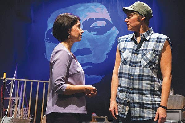 Elizabeth Ruelas (left) and Lisa Ann Goldsmith in Tunnel Vision, at Off the Wall Productions - PHOTO BY HEATHER MULL