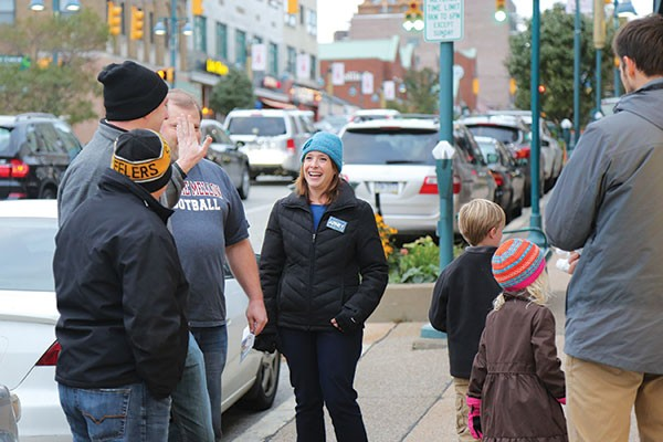 Heather Arnet talks to voters in Mount Lebanon during recent door-to-door campaigning - PHOTO BY THEO SCHWARZ