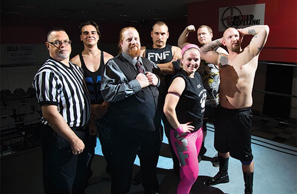 The stars of Code Red Wrestling in their home at the Century III Mall - PHOTO BY THEO SCHWARZ