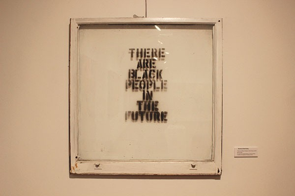 """There are Black People in the Future"" (2013), a mixed-media work by Alisha B. Wormsley - Art on loan from Transformazium, the Art Lending Collection at Braddock Carnegie Library"