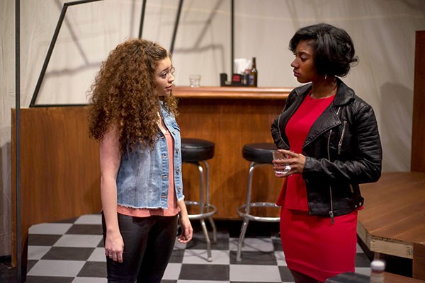 Angela D'Occhio (left) and Te'Era Coleman in Our Lady of 121st Street, at the Conservatory Theatre Company - PHOTO COURTESY OF JEFF SWENSEN