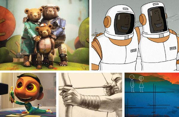 """Clockwise from upper left: """"Bear Story,"""" We Can't Live Without the Cosmos,"""" """"World of Tomorrow,"""" """"Prologue"""" and """"Sanjay's Super Team"""""""
