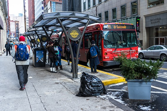 New infrastructure at the Smithfield Street and Sixth Avenue bus stop in Downtown - PHOTO BY AARON WARNICK