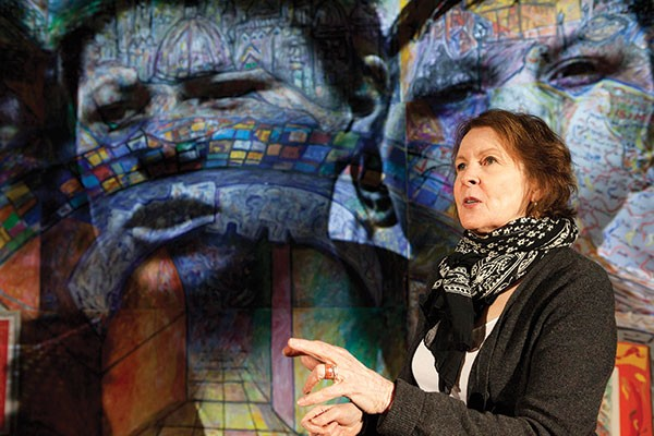 Mary Rawson (with artwork by Robert Qualters) in Quantum's Ciara - PHOTO COURTESY OF HEATHER MULL