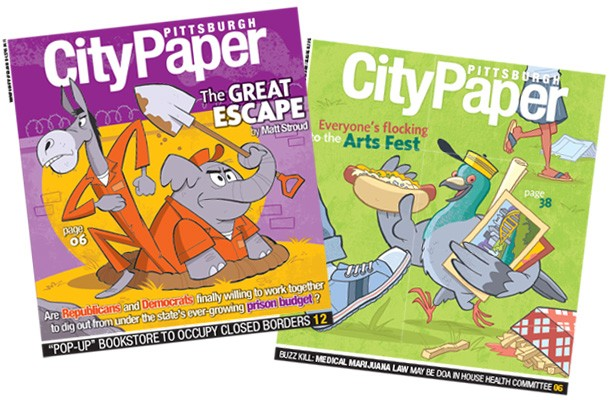 Two of Pat Lewis' previous Pittsburgh City Paper cover illustrations