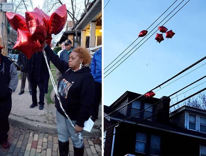 Rose Brice releases balloons baring the names of the victims - PHOTO BY REBECCA NUTTALL