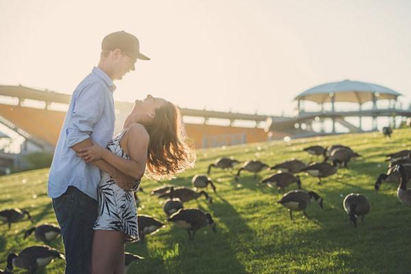 An engagement photo taken outside of Heinz Field