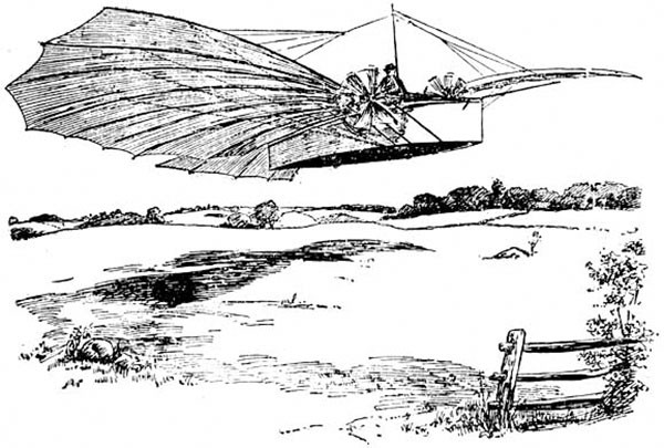 "Line drawing depicting Gustave Whitehead's Aug. 14, 1901, flight of ""one half mile,"" which accompanied a full-page report of an eyewitness account published in the Bridgeport Sunday Herald, Aug. 18, 1901"