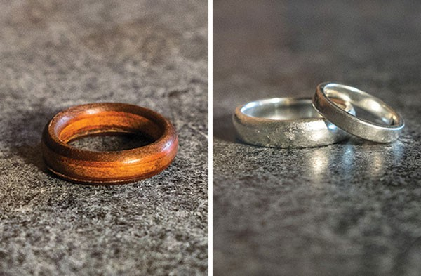 amy and ian greens original 35 wooden wedding ring and their custom made silver