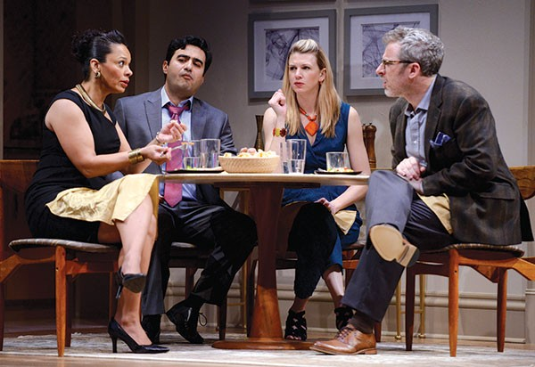 From left: Nafeesa Monroe, Fajer Kaisi, Lisa Velten Smith and Ryan McCarthy in Disgraced, at the Public