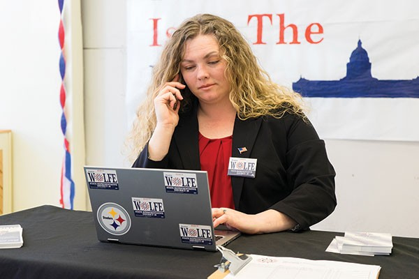 Jessica Wolfe in her campaign office