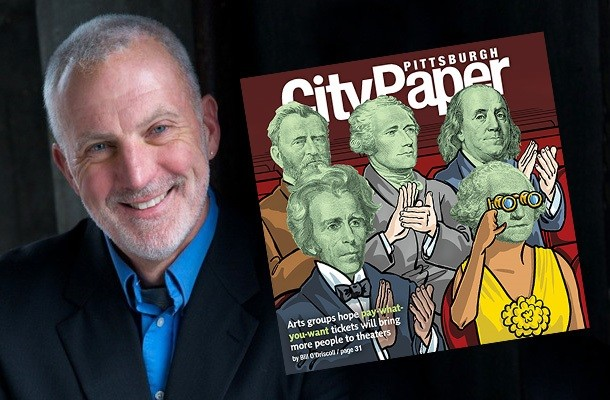 John Hinderliter with his Pittsburgh City Paper cover illustration - PHOTO COURTESY OF JOHN HINDERLITER
