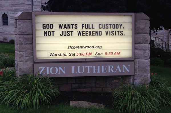 The marquee of the Zion Lutheran Church of Brentwood