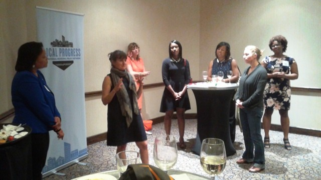 Culver City, Calif., City Councilor Meghan Sahli-Wells spoke to a crowd of locally elected woman officials.