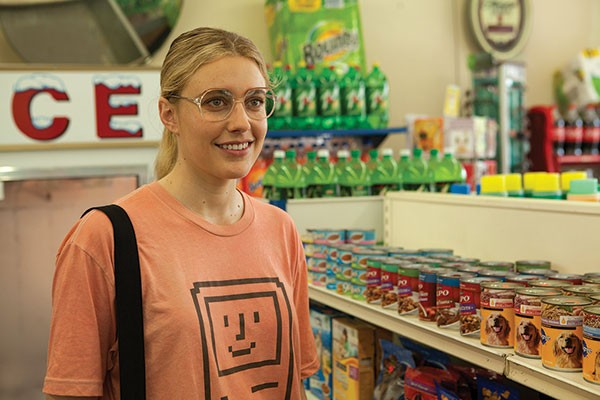 """Hey, weiner dog"": Greta Gerwig"