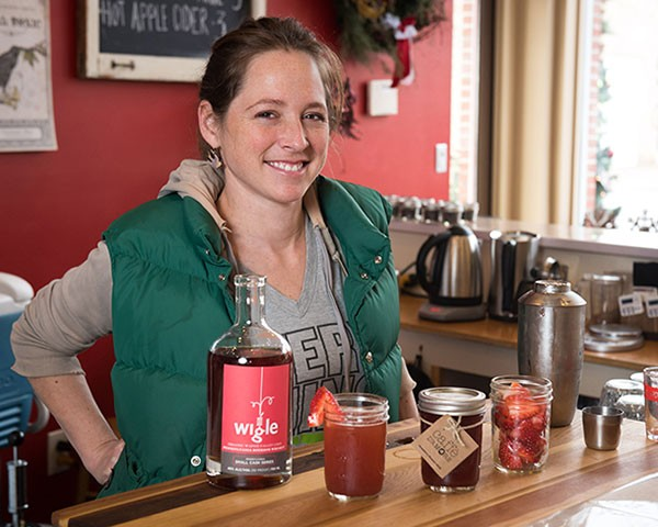 Sarah Walsh, owner of Caffe d'Amore in Lawrenceville, with her strawberry rhubarb shrub