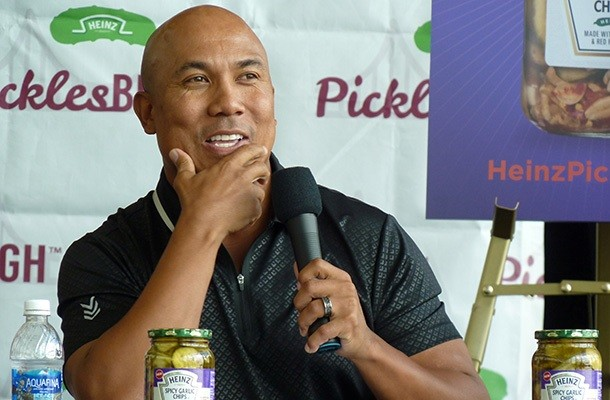Hines Ward jokes with his former teammate about whose pickles people will like best - PHOTO BY RYAN DETO