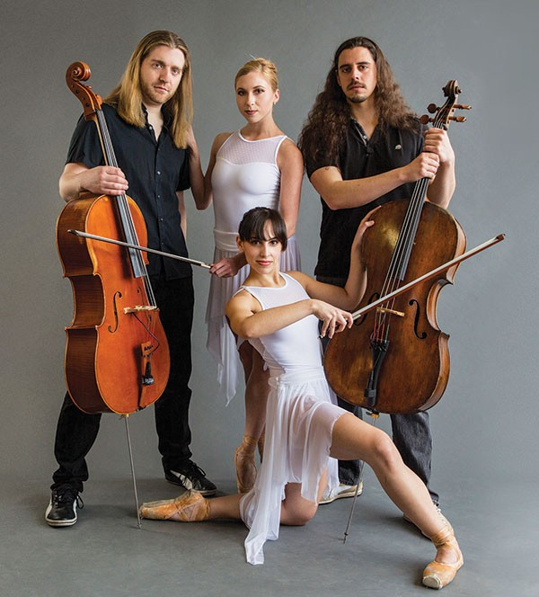 Simon Cummings (left) and Ben Munoz, of Cello Fury, with Lindsay Burke and Alexandra Tiso (kneeling), of Texture
