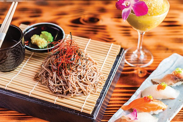 Zaru soba: chilled buckwheat noodles, ponzu dipping sauce and sesame seed, with assorted nigiri and a Fuji Slushee