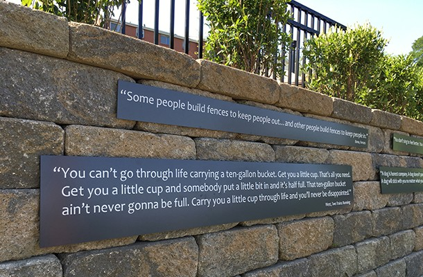 Quotes from August Wilson plays adorn a wall in his namesake park. - PHOTO COURTESY OF SCOTT ROLLER/PITTSBURGH PARKS CONSERVANCY