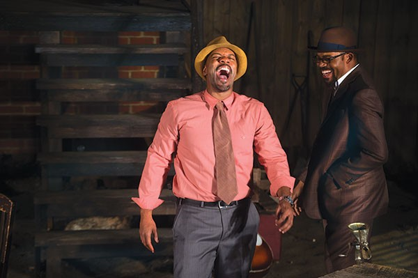 "Jonathan Berry (left) and Leslie ""Ezra"" Smith in Seven Guitars at Pittsburgh Playwrights"