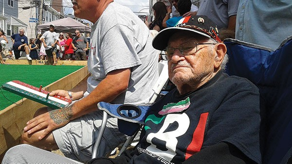 Eugene Mariani, 102, of Bloomfield, still plays bocce.