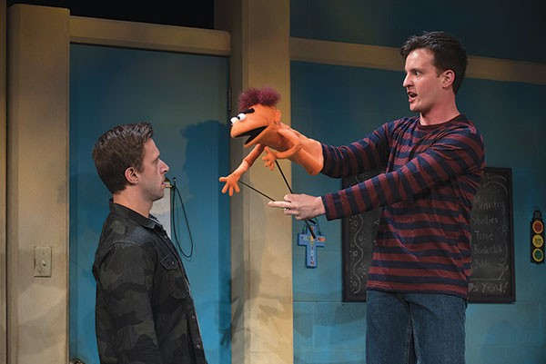 Michael Greer (left) and Nick LaMedica in Hand to God, at City Theatre