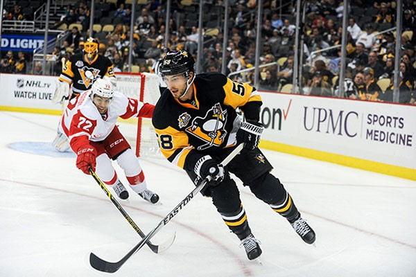 Pittsburgh Penguins Kris Letang during the Pens vs. Red Wings preseason game on Wed., Oct. 5 - CP PHOTO BY VINCENT PUGLIESE