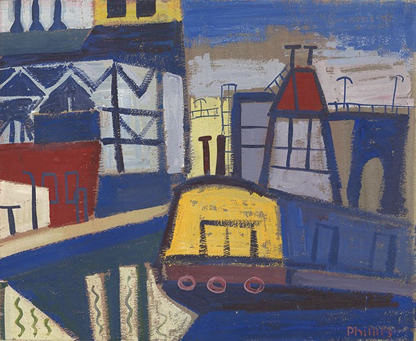 """Yellow Barge"" (ca. 1950s), by Esther Phillips"