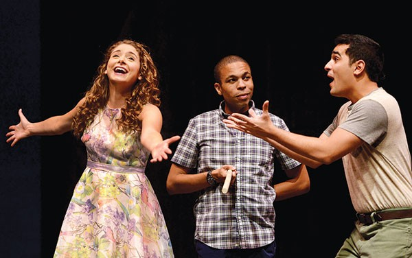 Left to right: Mary Elizabeth Drake, Jason Shavers and Jamen Nanthakumar in The Fantasticks, at Pittsburgh Public Theater