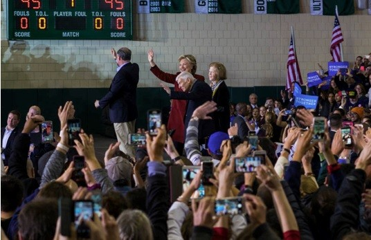 Hillary Clinton and Tim Kaine take the stage with Pittsburgh Steelers owner Dan Rooney and his wife, Pat - PHOTO BY AARON WARNICK