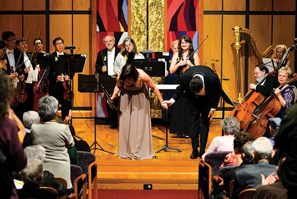 Striking members of the Pittsburgh Symphony Orchestra perform a show  at Rodef Shalom Temple in Oakland. - CP PHOTO BY STEPHEN CARUSO