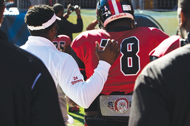 Aliquippa coaches and players wore the number of senior DiMantae Bronaugh who is fighting cancer - CP PHOTO BY LUKE THOR TRAVIS