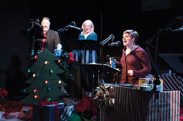 Jason McCune, Amy Landis and Julianne Avolio in Midnight Radio's Holiday Spectacular!
