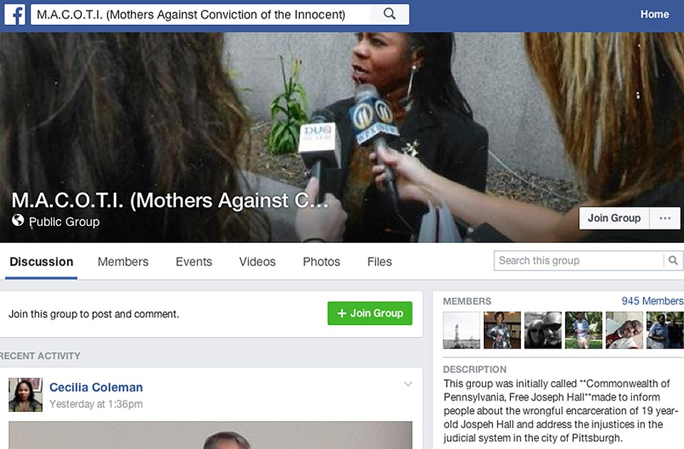 A screencap of the Facebook group M.A.C.O.T.I. (Mothers Against Conviction of the Innocent)