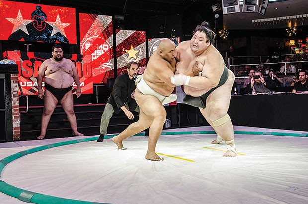 Sumo champions Byamba (left) and Yama will clash Jan. 21 at Stage AE.