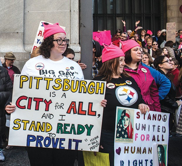 A sampling of signs from the Women's March on Pittsburgh - CP PHOTO BY KATEY LADIKA